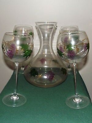 Wine things unlimited vintage decanter goblets glasses amethyst grape green vine