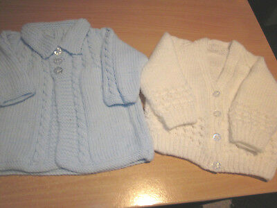 Boy's Hand Knitted Baby Matinee Jacket & Cardi Size 000  New Without Tags