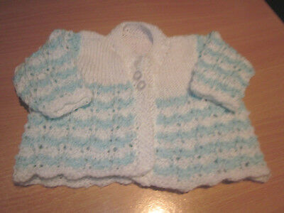 Boy's Hand Knitted Baby Matinee Jacket Size 0000  New Without Tags