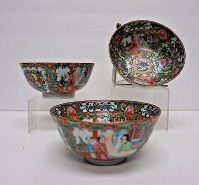 Set of 3 Matching Chinese Canton Rose Medallion Rice Bowls 5""