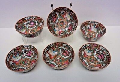 Set of 6 Matching Chinese Rose Medallion Rice Bowls 5""