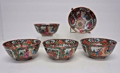 "Set of 5 Matching Chinese Canton Rose Rice Bowls 5""  Medallion"