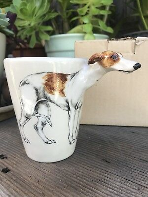 Blue Witch 3D Mug Brown White WHIPPET Dog Ceramic Hand Crafted Cup 11 Oz  #2