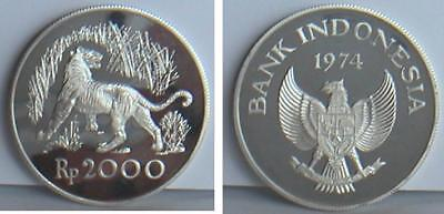 1974 Indonesia Tiger Silver 2000 Rupees