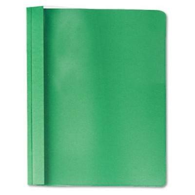 Clear Front Report Cover, Tang Fasteners, Letter Size, Green, 25/Box