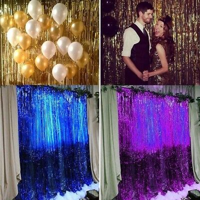 Foil Fringe Door Curtains Party  Birthday Wedding Photo Booth Props Backdrop
