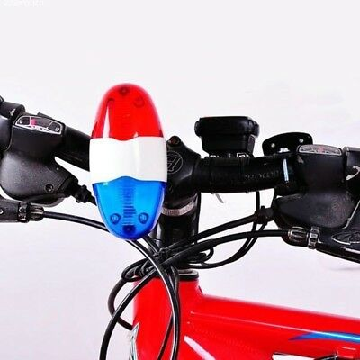 New Bike Bicycle 6 LED 4 Sounds Horn Bell Ring Police Car Light Trumpet Hot