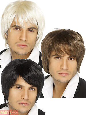 Mens Boy Band Wig Adults 60s 70s 80s Black Blonde Brunette Fancy Dress Accessory