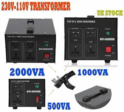 Step Down/Up Transformer 230V-110V AC UK-US Voltage Converter 500W-2000W RT