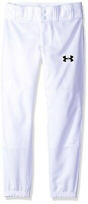 (Youth Small, White (100)/Black) - Under Armour Boys' Clean Up Cuffed Baseball