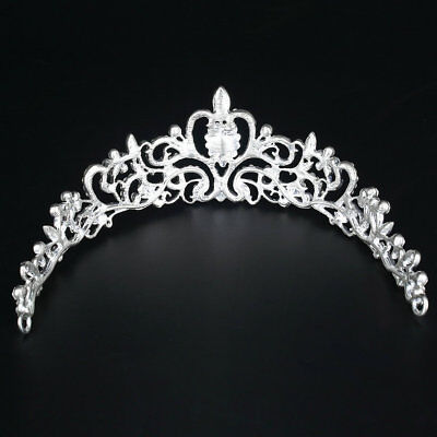 Bridal Princess Austrian Crystal Tiara Wedding Crown Veil Hair Accessory EW