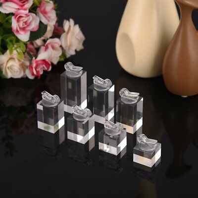 7PCS Square Clear Finger Ring Display Stand Holder Set Jewelry Showcase EC