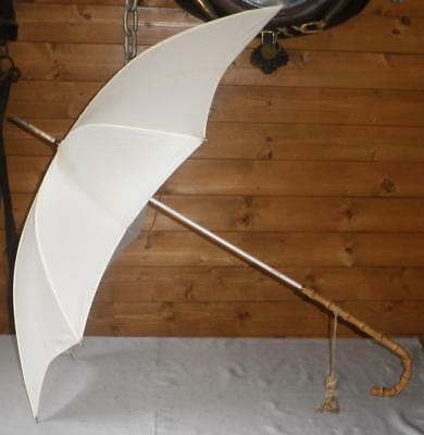 Vintage 'F.Scales' Cream Coloured Canopy Umbrella With Bamboo Crook Handle Top