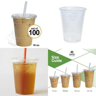 100 Sets 16 oz. Plastic Crystal Clear Cups with Flat Lids For Cold Drinks Coffee