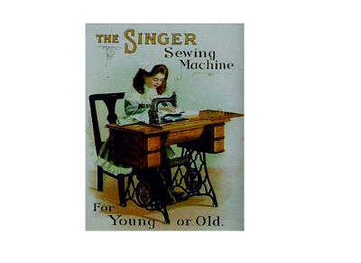 The Singer sewing machine for young retro vintage style metal wall plaque sign