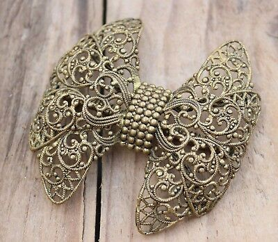 Vintage Brooch Pin 'Bow Tie' Art Deco Brass Filigree Jewellery Jewelry 30s