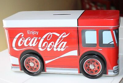 Coca Cola Coke Bank Metal Truck Moving Wheels Delivery Vehicle Top Comes Off New