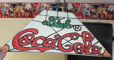 Vtg Coca Cola Coke Light Hanging Ceiling Drink Pool Table Card Bar On Chain Old