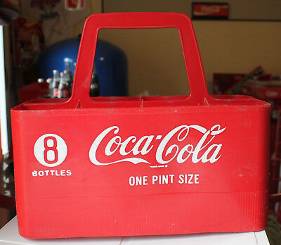 Vintage Coke Coca Cola Bottle Carrier 8 One Pint Size Plastic Handled Retro Old