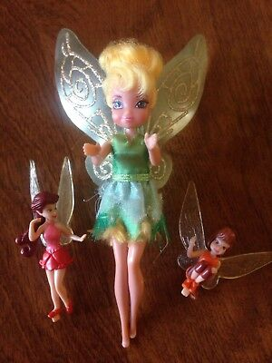 2010 Disney Mini Tinkerbell Doll with Wings 6inch Tall and 2 little Fairies