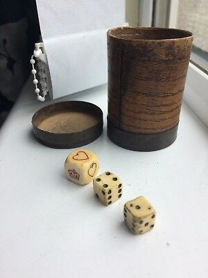 Antique Georgian 19th Century British Navy Scrimshaw Dice and Wooden Cup