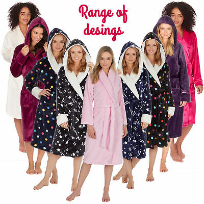 Ladies Womens Baby Pink Soft Fleece Snuggle Dressing Robe Gown With Shawl Collar