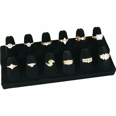 12 Finger Shaped Velvet Ring Showcase Counter Top Display Jewelry Holder Storage