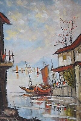 Antique Old Japanese Chinese Korean Village Oil Painting Signed E Hwa Boats Sea