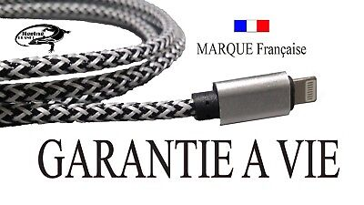 Cable Iphone 5 6 7 8 cordon fil usb gris lightening garantie a vie costaud fort