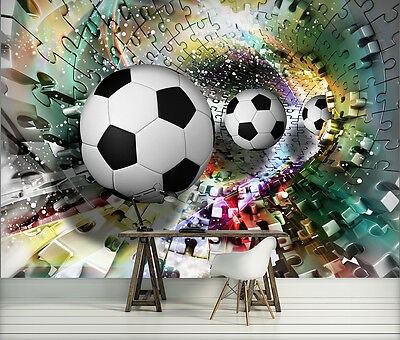 FOTOTAPETE FOTOTAPETE Tapete Tapeten Poster Fussball Ball 3D Puzzle ...
