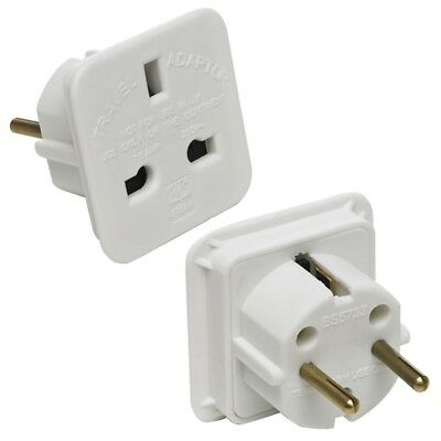 2 X UK To EU Euro Europe European Travel Adaptor Plug 2 Pin Adapter