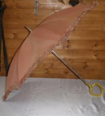 Vintage Brown Coloured Canopy Umbrella With Yellow Bakelite Handle