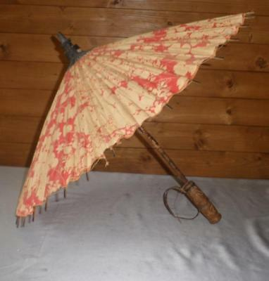 Vintage Chinese Theme Cotton Canopy - Umbrella W/ Wooden Floral Handle