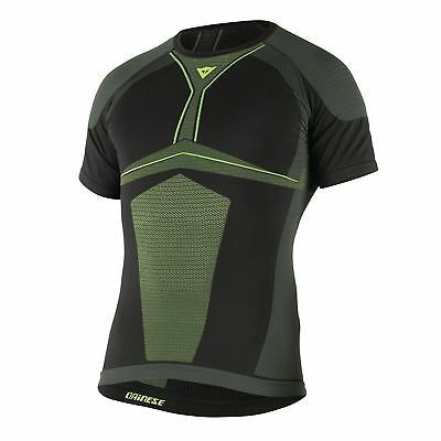 Dainese D-Core Dry Mens Short Sleeve Base Layer Shirt Top Black/Fluo Yellow MD