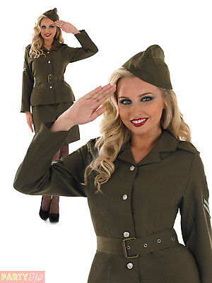 Ladies 40s WW2 Army Girl Costume Womens Soldier Uniform Fancy Dress Outfit 8-26