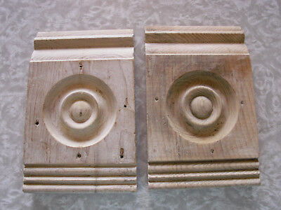 2 Antique Door Window Rosette Plinth Blocks Doug Fir? Architectural Salvage 1900