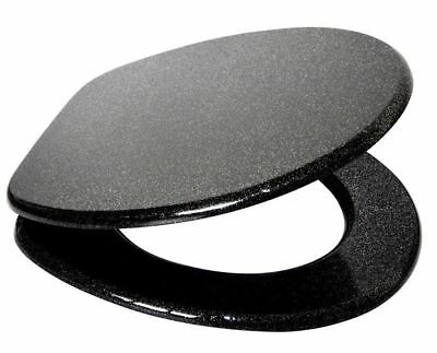 Universal Toilet Seat Black Glitter Premium Quality MDF Plastic Hinges Fittings