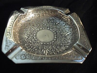 Antique Bright Cut Solid Silver Cheroot Ashtray