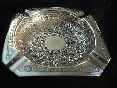 Antique Bright Cut Solid Silver Islamic Cheroot Ashtray