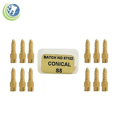 Dental Gold Plated Screw Posts Conical Cross Head Refill Size Small 5 #S5 12/Box