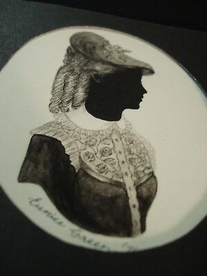 Signed Silhouette Water Colour Minature Of Victorian Lady