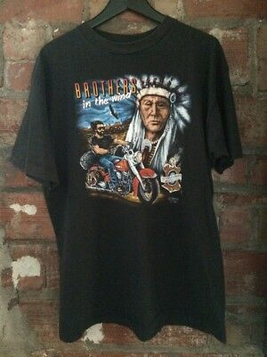 Vintage 1990's Harley Davidson 3D Emblem Brothers In The Wind T Shirt XL