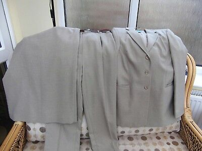 Three Piece Trouser Suit With Matching Skirt. Colour - Beige . Pre-Owned.