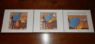 "3 LITHOGAPHIES TINTIN Couleur "" Le secret de la Licorne "" Hergé  Moulinsart 2010"