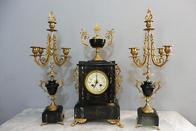Antique French Marble Clock French Clock Set Shelf Mantel Old Clock