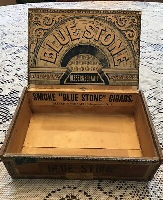ANTIQUE Blue Stone WOOD CIGAR BOX VINTAGE TOBACCO Schenectady NY OLD