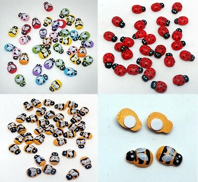 Mini Self Adhesive Stick On Wooden BEE BUMBLEBEE LADYBIRD MIX Craft Decoration