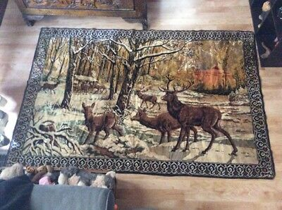 Vintage Large Plush Velvet Rug Wall Hanging Tapestry Stag Deer Buck Doe 72x 48