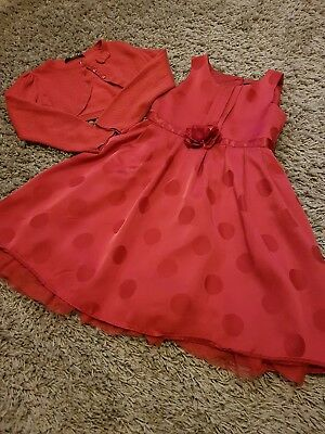 🌈 Beautiful Girls Red Summer/Party Dress and Sparkle Cardigan - Age 4-5