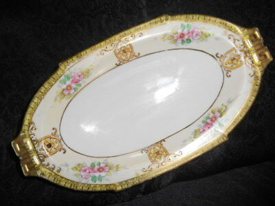 Antique Noritake Victorian Hand Paint Gold Gild Oval Serving Dish ca. 1910-1915
